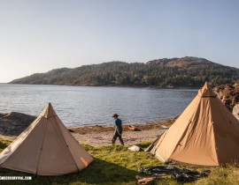 Both Safir 9 CP and Onyx 5 CP pitched together. This wild camp spot was on a tidal island with an abandoned castle behind us.