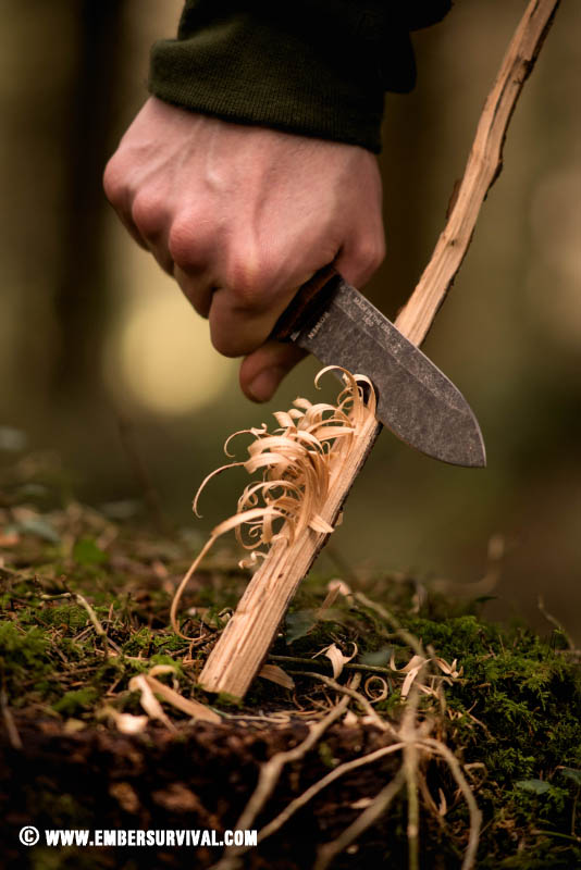 The Esee PR4 is shown here making feathersticks against a woodland backdrop