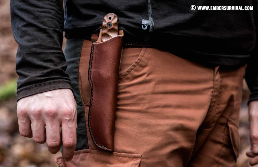 Esee Pr4 shown worn on the belt in its sheath.