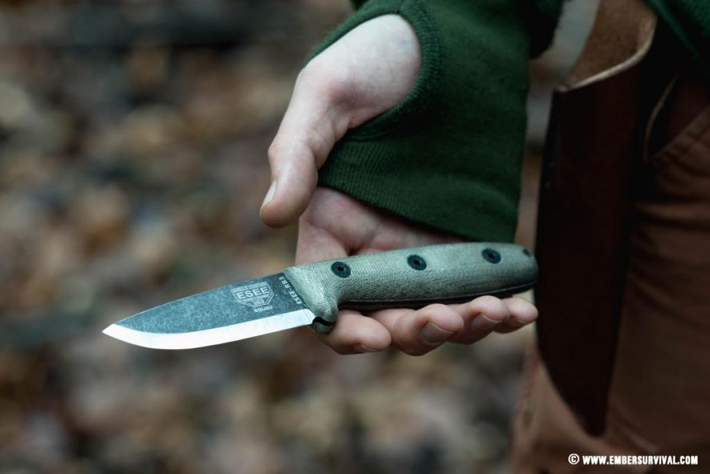 esee rb3 being held in hand